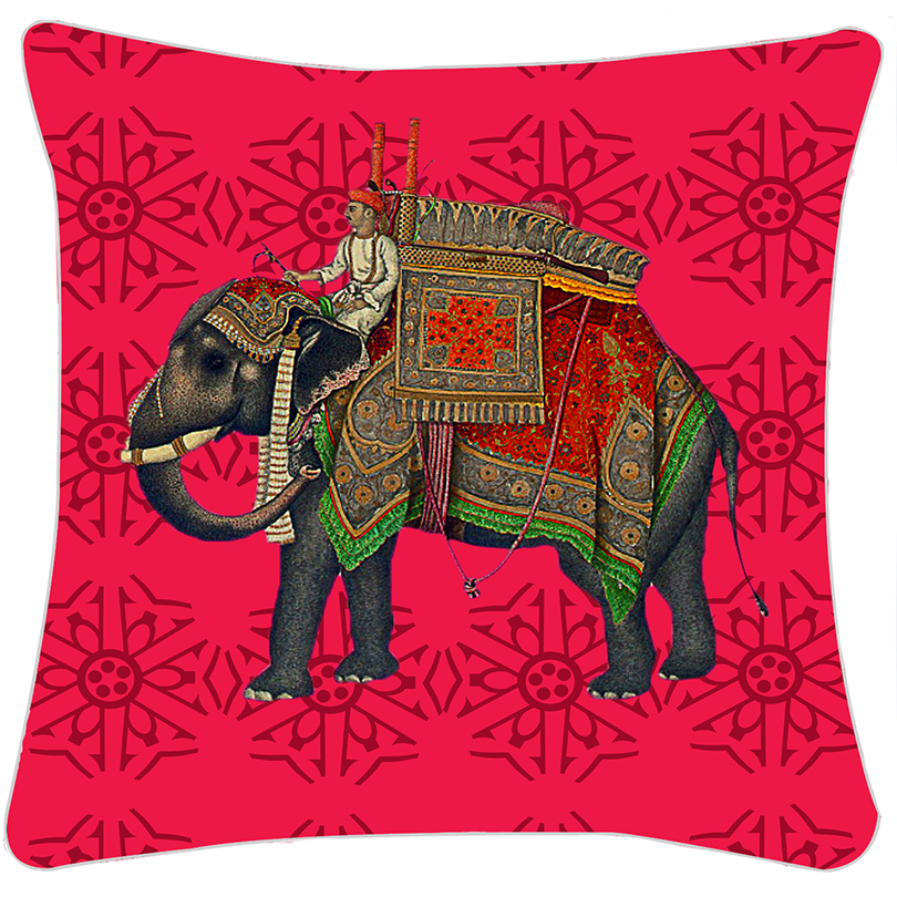 Red Royal Elephant 16 X 16 Printed Cushion Cover Buy Single Cushion Covers Illustration of a royal elephant logo design on a black background. printed cushion cover
